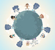 Planet earth with cute cartoon kids playing. Royalty Free Stock Photography
