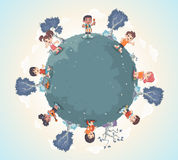 Planet earth with cute cartoon kids playing. Stock Photography