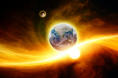 Planet Earth in danger. Abstract fantastic background - planet Earth in red space, exploding moon approaching to Earth, end of world. Elements of this image Stock Images