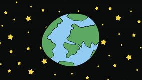 The planet among stars. The planet Earth in dark space among stars royalty free illustration