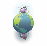 Planet earth.Day and night at the poles vector illustration