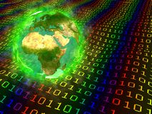 Planet Earth and digital data - Europe Africa Asia Stock Photos
