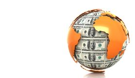 Planet Earth from dollar bills. On a white background Stock Illustration