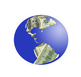 PLanet earth of dollars Stock Image