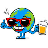 Planet earth drinking beer Stock Photo