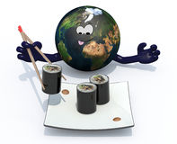 Planet earth eating sushi with chopsticks Royalty Free Stock Photos