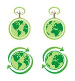 Planet earth eco isolated icons. Eco icons with globe, recycling icon and trees. World globe isolated on white background with North and South America, Greenland royalty free illustration