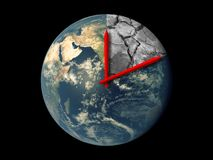 Planet Earth Ecology Death Countdown concept. Red hands clock on Earth running towards natural climate change disaster isolated