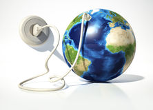 Planet Earth with electric cable, plug and socket. Source maps o. Planet Earth with electric cable, plug and socket. On white surface and white background Stock Photography