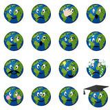 Planet earth emoticons set. Stock Photography