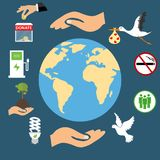 Planet Earth environment under protection, ecology. Environmental protection. Stock Photo