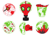 Planet Earth, environmental pollution, global disaster, ecology icons royalty free illustration