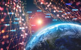 Planet Earth in the era of digital technology. Global communication networks of future. Data storage system royalty free stock images