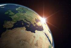 Planet Earth - Europe. Beautiful Planet Earth. Sun rising over Europe Stock Image