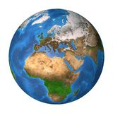 Planet Earth. Europe, Africa and Asia. Realistic satellite view of planet Earth in high resolution, focused on Europe, Africa and Asia. 3D illustration Stock Image