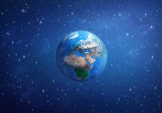 Planet Earth. Europe, Africa and Asia from space. Planet Earth in space, focused on Europe, Africa and Asia. 3D illustration - Elements of this image furnished Stock Image