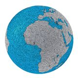 Planet earth europe and africa rough metal. Europe and Africa. futuristic style planet earth made in shiny rough metal blue and silver Stock Photo
