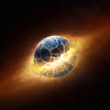 Planet earth explode in space. (Elements of this 3d image furnished by NASA -  texture maps from http://visibleearth.nasa.gov Stock Photos