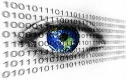 Planet earth in eye with binary numbers royalty free stock image