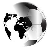 Earth Football Abstract Isolated. The planet Earth fading into a typical soccer ball over a white background Royalty Free Stock Image