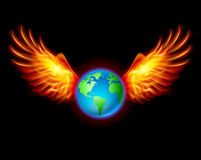 Planet the Earth with fiery wings. A color illustration on a black background Stock Photos