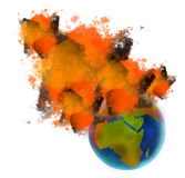 Planet earth on fire Stock Photos