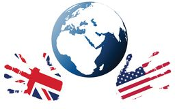 Planet earth with flags Royalty Free Stock Images