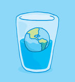 Planet earth flooding and sinking into glass of water Royalty Free Stock Photo