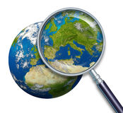 Planet Earth Focus On Europe. Planet Earth focusing on Europe and European union countries including France Germany Italy and England Greece Spain Portugal vector illustration