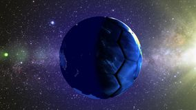 Planet Earth in the form of a ball in space, maps and textures provided by NASA stock video