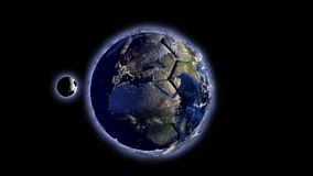 Planet Earth in the form of a ball in space, maps and textures provided by NASA, video loop stock video footage