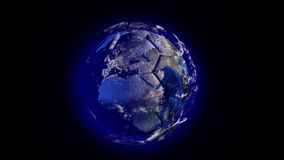 Planet Earth in the form of a ball in space, maps and textures provided by NASA, video loop alpha channel stock footage