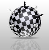 Planet Earth in the form of a chessboard with distant figures Royalty Free Stock Image
