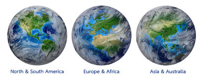 Planet Earth, Global World showing America, Europe, Africa, Asia, continent Royalty Free Stock Photo