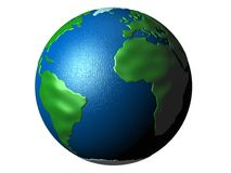 Planet Earth globe. Three dimensional illustration of Planet Earth globe with African and South American continents, isolated on white background Stock Photography