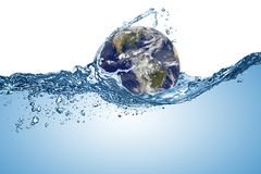 Free Planet Earth Globe In Wave Of Water In The Ocean. Climate Change Global Warming Concept Isolated White Background. Elements Of Royalty Free Stock Photos - 163275328