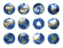 Planet earth globe positions