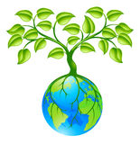 Planet earth globe with three concept. Concept illustration of planet earth world globe with a tree growing on top. Any number of green environmental or business Stock Image