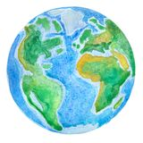 Planet Earth. Globe watercolor illustration drawn by hand vector illustration
