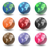 Planet Earth Globes. Shiny Planet Earth globes with white background. Created in photoshop Royalty Free Stock Photography