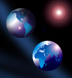 Planet Earth globes in space. Illustration of two globes of Planet Earth in space with American, Asian and European continents, moon in background Stock Image