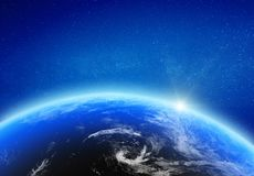 Planet Earth glow light horizon. Elements of this image furnished by NASA. 3d rendering vector illustration