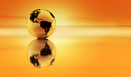 Planet earth in glowing orange. Planet earth reflected in an orange sea with an orange atmosphere stock illustration
