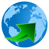 Planet Earth with green arrow. Vector illustration of the planet earth with green arrow Royalty Free Stock Photo