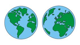 Planet Earth green and blue vector isolated. World globe isolated on white background with North and South America, Greenland, Africa, Europe and Asia. Vector stock illustration