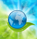 Planet earth with green leaf Royalty Free Stock Photography