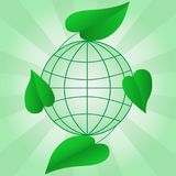 Planet Earth with green leaves. Ecology and World environment. Planet Earth with green leaves. Ecology and World environment concept. Vector illustration for Royalty Free Stock Photography