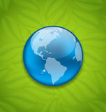 Planet Earth on green leaves texture. Illustration planet Earth on green leaves texture - vector Royalty Free Stock Images