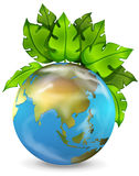 Planet earth with green plants Stock Images