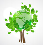 Planet Earth and green tree Royalty Free Stock Photo